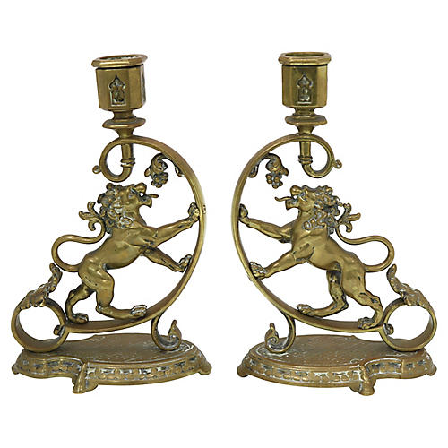 Antique English Brass Lion Candlesticks