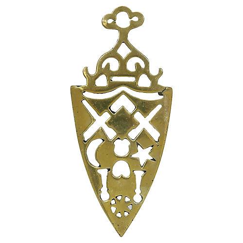 Antique English Brass Masonic Trivet
