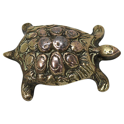 Antique English Brass Turtle Paperweight