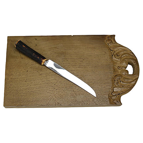 Carved French Cutting Board w/ Knife