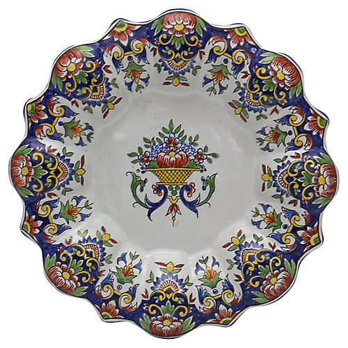 French Faience Footed Serving Plate