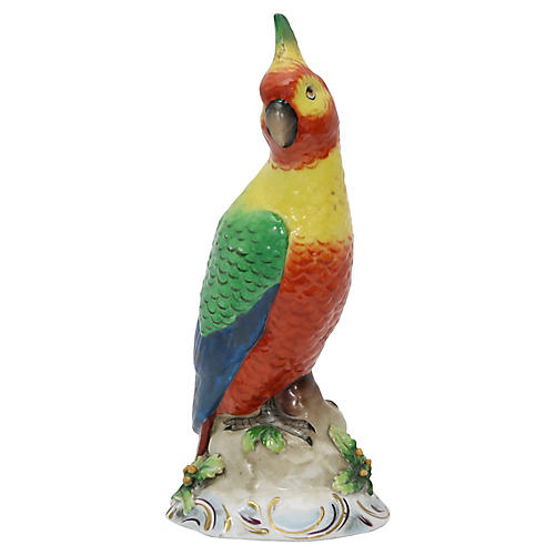 Tall Antique French Porcelain Parrot