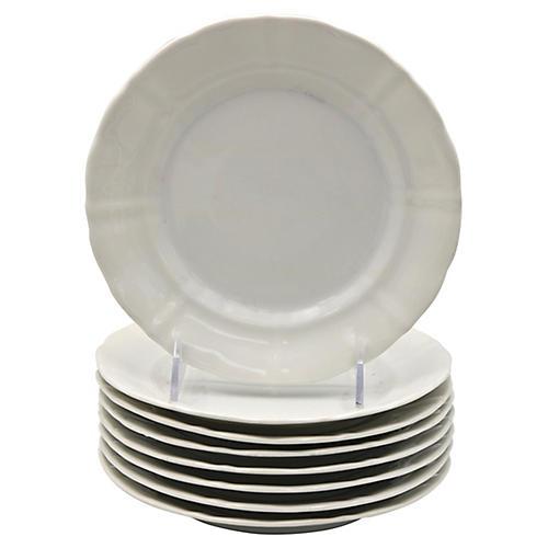 Antique French Porcelain Plates, S/8
