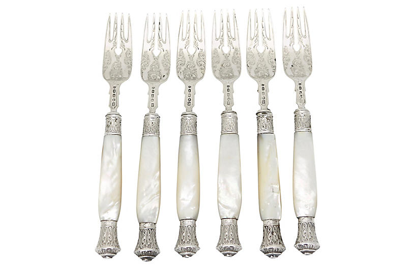 1868 Pearl & Sterling English Forks