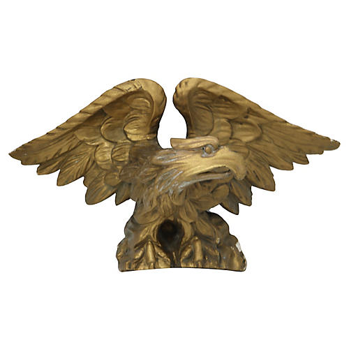 Antique Hand-Carved Eagle Pediment