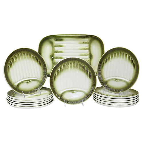 Mid-Century French Asparagus Set, 14Pcs