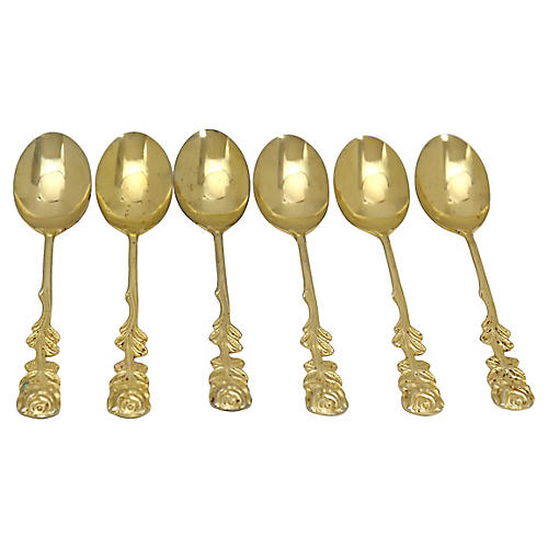French Floral Gold-Plated Spoons, S/6