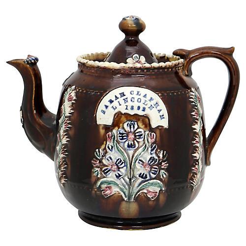 1882 Antique English Bargeware Tea Pot