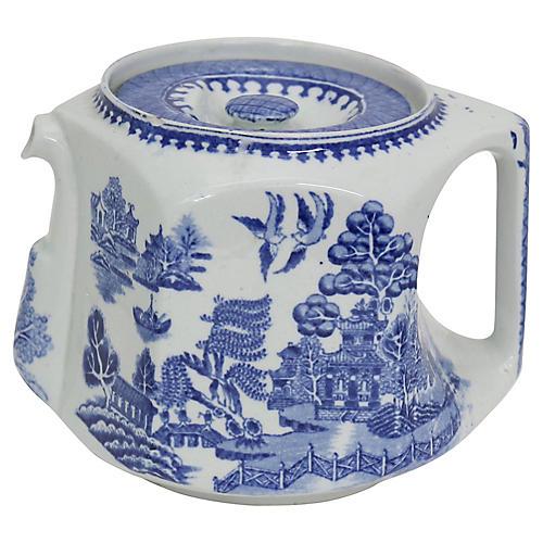 Square English Willow Pattern Teapot