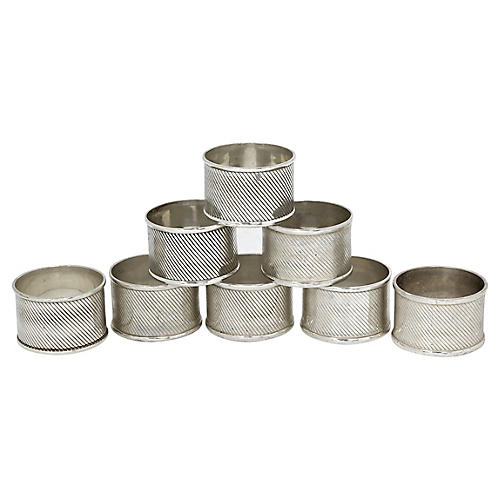 English Silver-Plate Napkin Rings, S/8