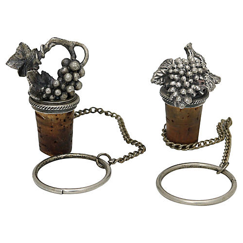 Silver-Plate Grape Cluster Wine Stoppers