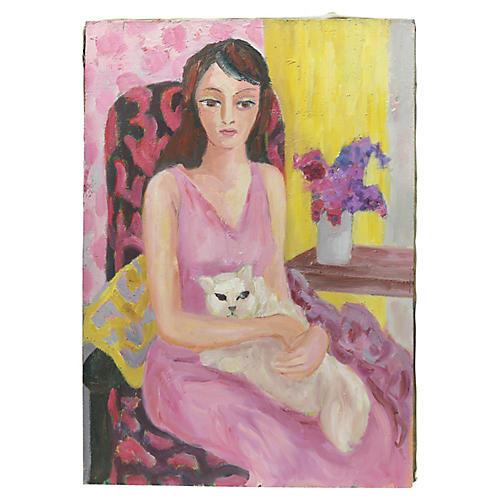 Midcentury French Woman & Cat Portrait