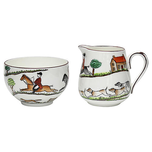 English Hunting Scene Cream & Sugar, 2Pc