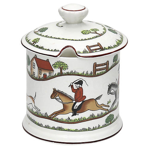 English Hunting Scene Jam Pot