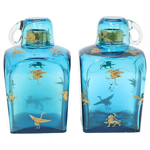 Antique Gilt Murano Glass Decanters,Pair