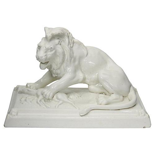 Antique French Glazed Stoneware Lion