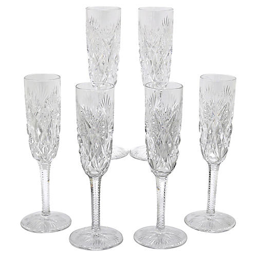 French St. Louis Champagne Flutes, S/6