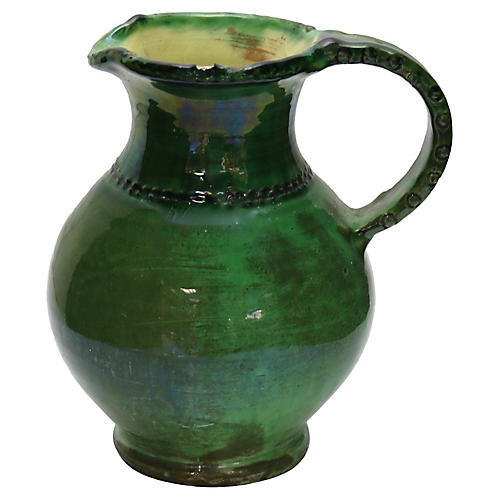 Antique French Green Glazed Water Jug