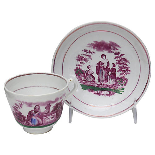Antique English Luster Cup & Saucer