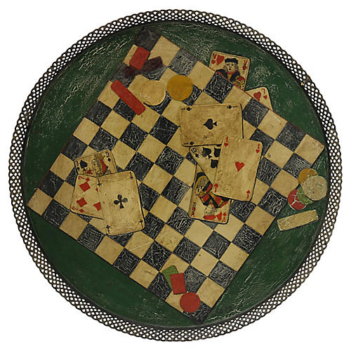 Antique French Tole Tray, Gaming Pattern