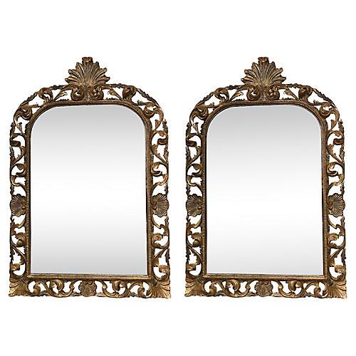 Mid-Century Italian Gilt Mirrors, Pair