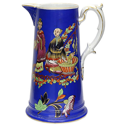 1850s English Chinoiserie Pitcher