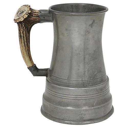 Antique Pewter & Horn Musical Mug