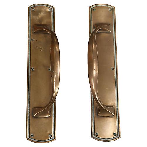 Antique London Copper Door Handles, 2Pc