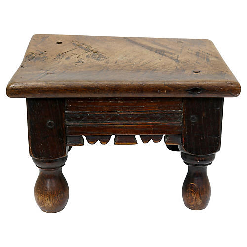 18th-C. Hand-Carved Footstool