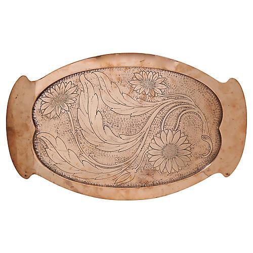 Antique Art Nouveau Copper Daisy Tray