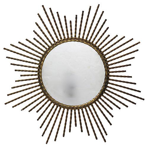 1960s French Gilded Iron Sunburst Mirror