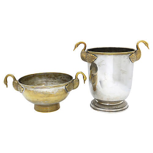 1920s French Art Deco Swan Champagne Set
