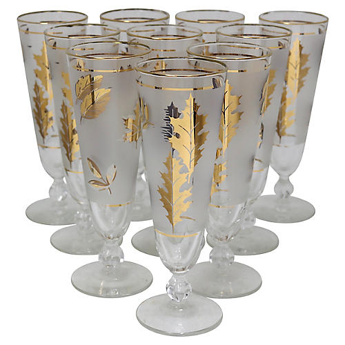 Mid-Century Gilded Pilsner Glasses, S/10