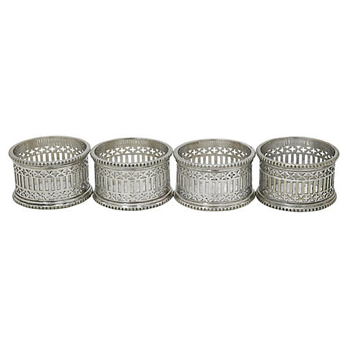English Silver-Plate Napkin Rings, S/4