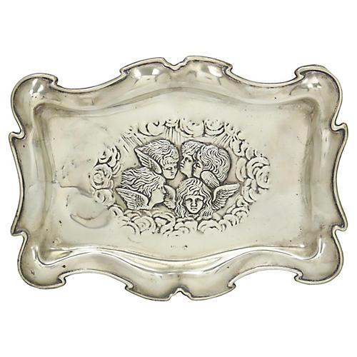 Antique Silver-Plate Cherub Vanity Tray