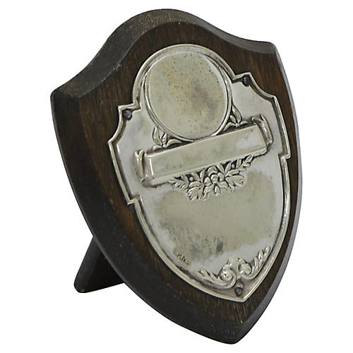 1950s English Small Blank Trophy Plaque