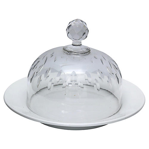 Antique French Charger w/Cut Glass Dome