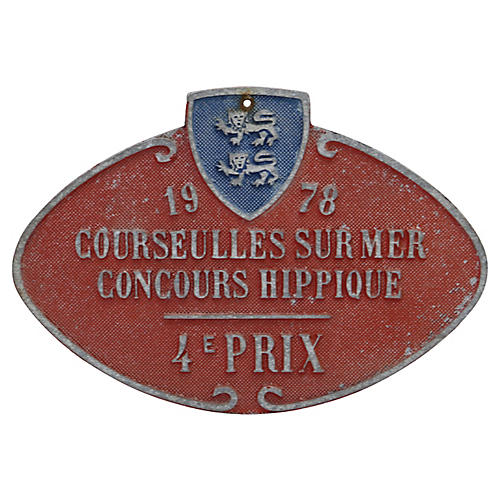 French Horse Show Trophy Plaque, 1978