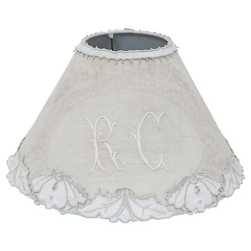 French Damask & Belgian Lace Lampshade