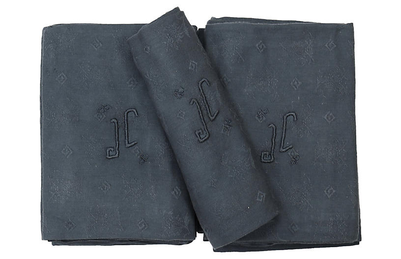 Antique French Linen Napkins, S/12