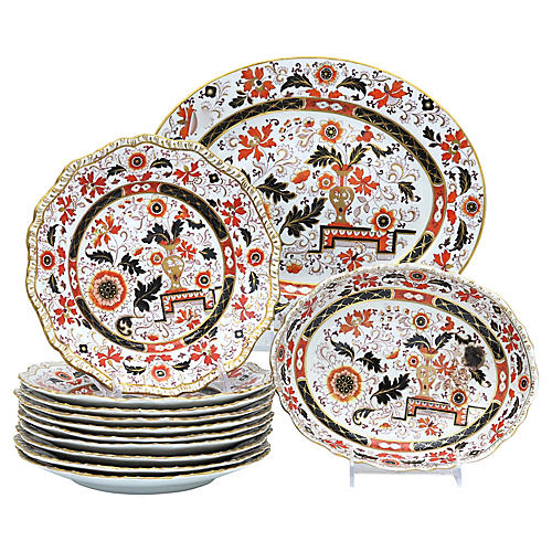 Antique English Ironstone Set,12 Pcs