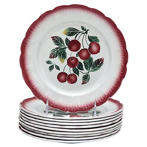 Mid-Century Plates w/ Cherries, S/10