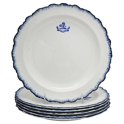Antique Feather Edge Crested Plates, S/6