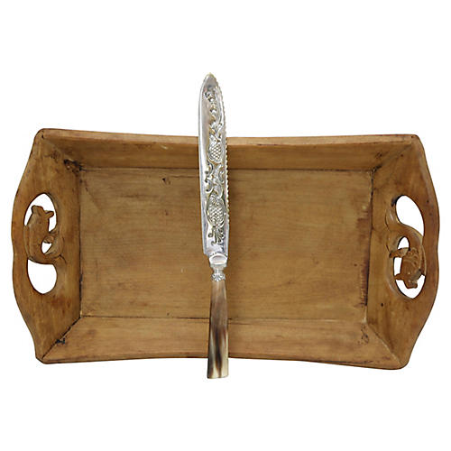 Hand-Carved Bread Tray w/ Horn Knife