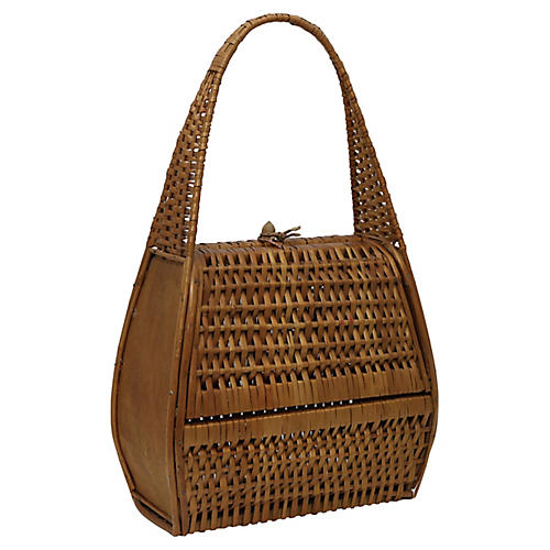 Midcentury French Wicker Handbag