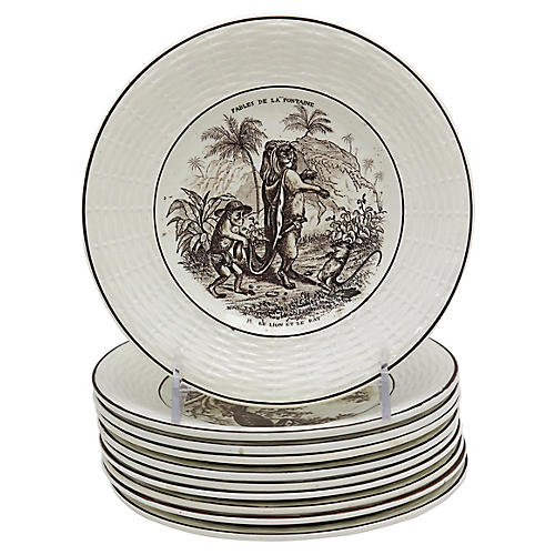 Antique French Fable Plates, S/10
