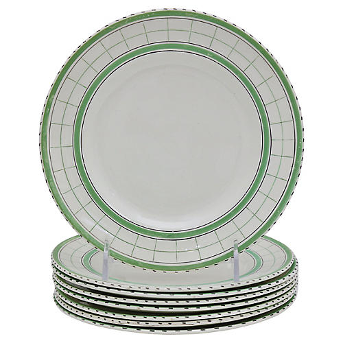Mid-Century Green Plaid Plates, S/8