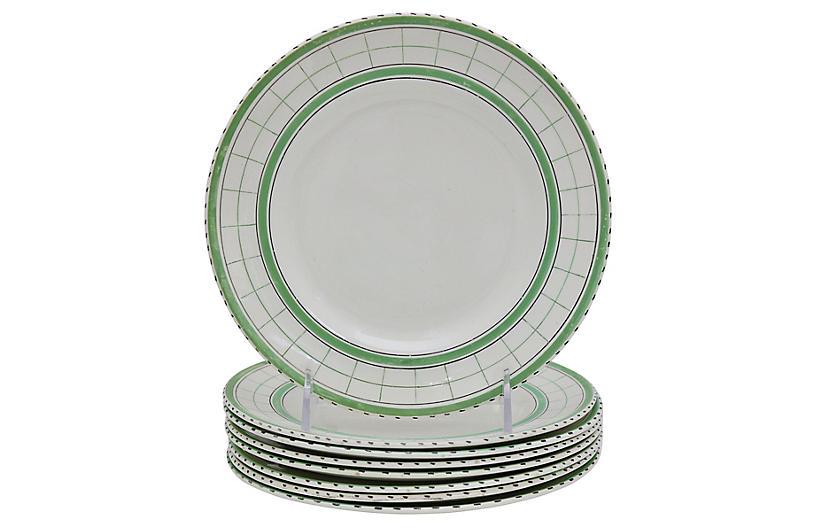 Mid-Century Green Plaid Plates, S/8