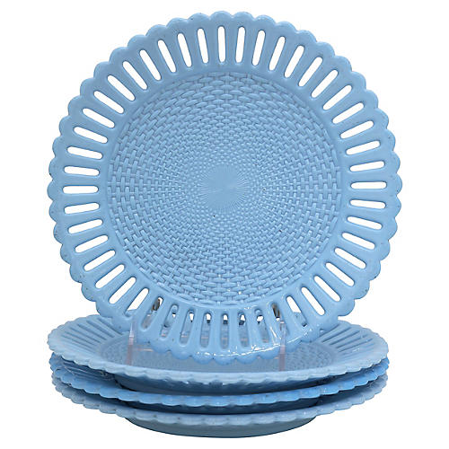 Antique Blue Milk Glass Salad Plates,S/4