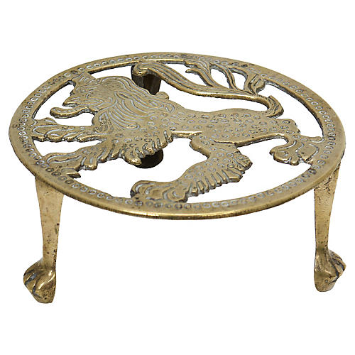 Antique English Brass Lion Trivet